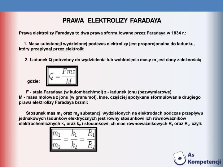 Prawa   elektrolizy  Faradaya