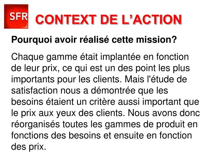 CONTEXT DE L'ACTION