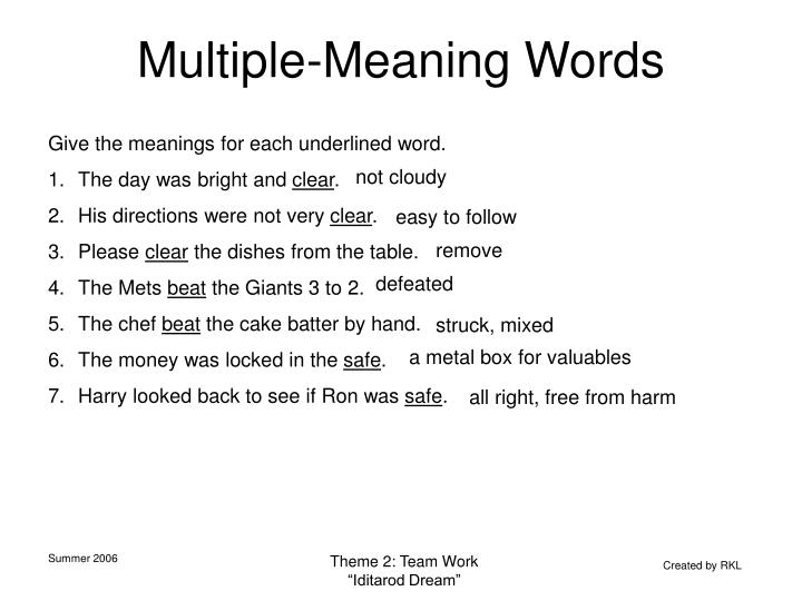Multiple-Meaning Words
