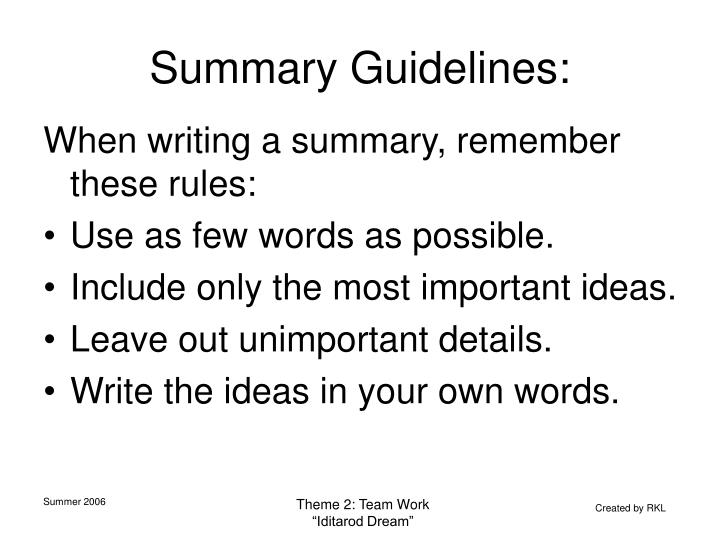 Summary Guidelines: