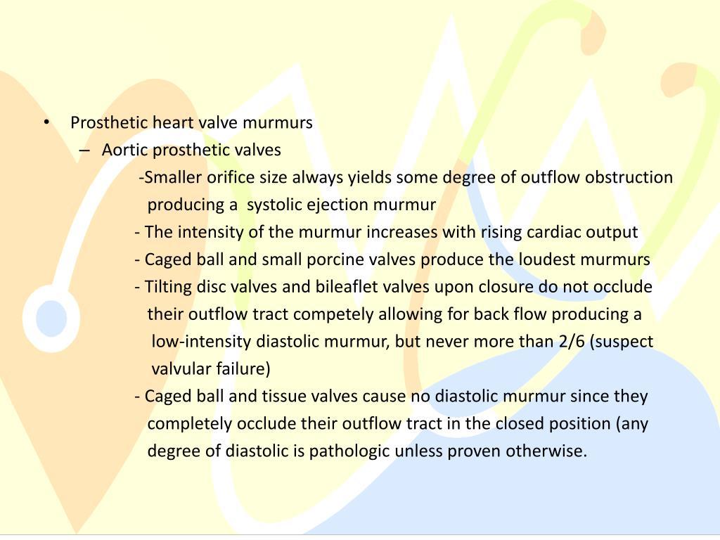 Prosthetic heart valve murmurs