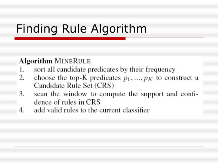 Finding Rule Algorithm