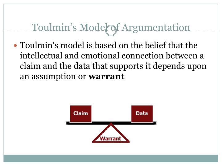 toulmin model of argumentation (adapted from timothy w crusius and carolyn e channell, the aims of  argument) definition of the toulmin method: thorough analysis requires us to go .