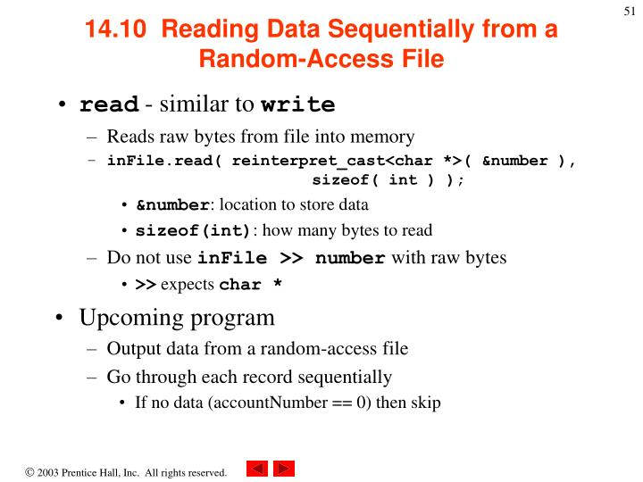 14.10  Reading Data Sequentially from a Random-Access File
