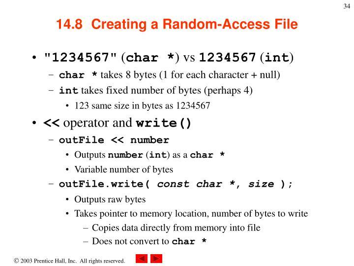 14.8  Creating a Random-Access File