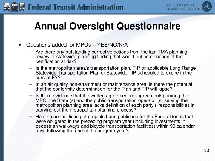 Annual Oversight Questionnaire