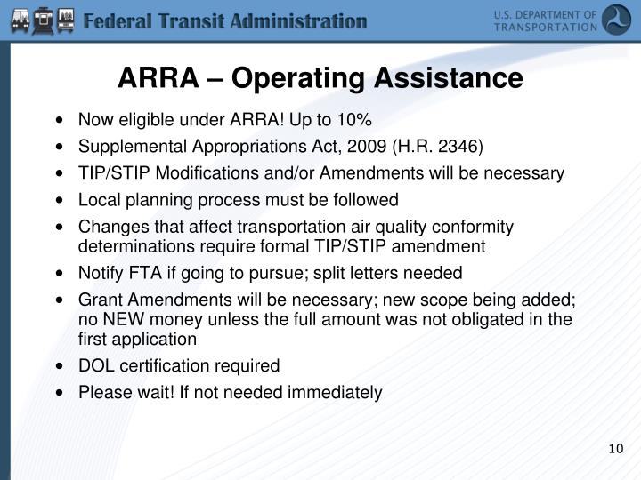 ARRA – Operating Assistance