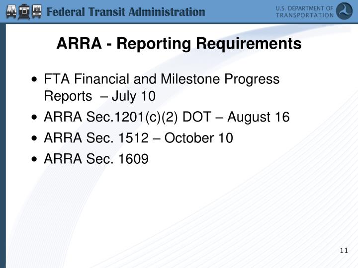 ARRA - Reporting Requirements
