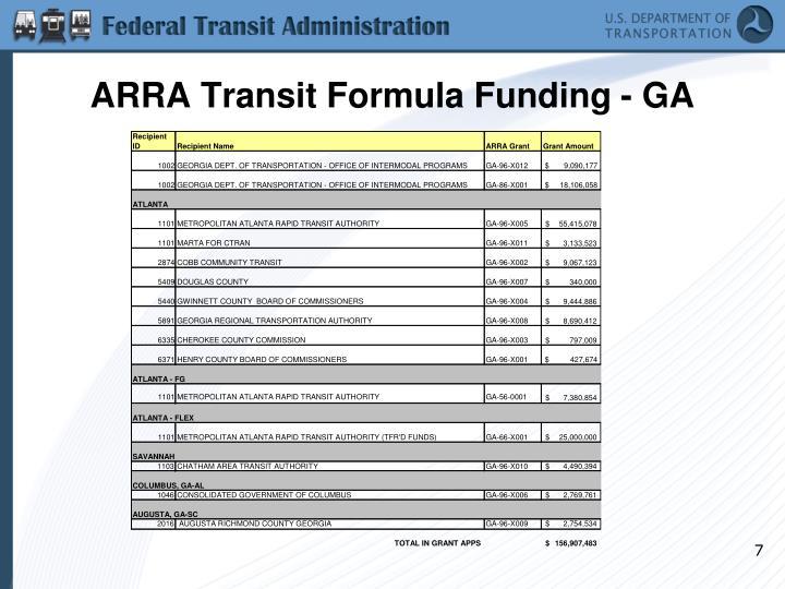 ARRA Transit Formula Funding - GA