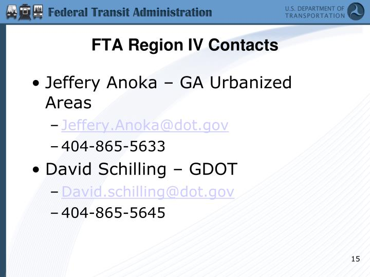 FTA Region IV Contacts