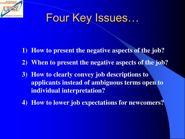 Four Key Issues…