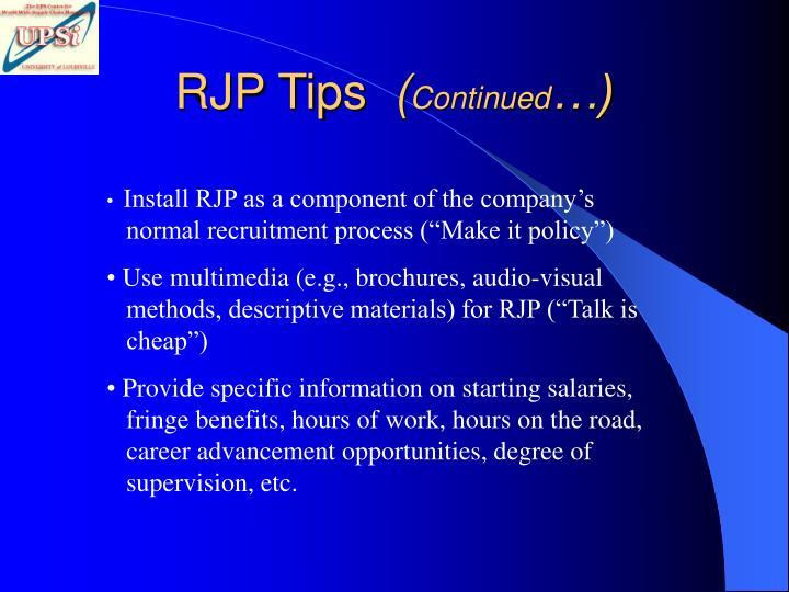 RJP Tips
