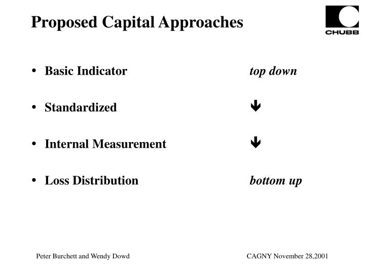 Proposed Capital Approaches