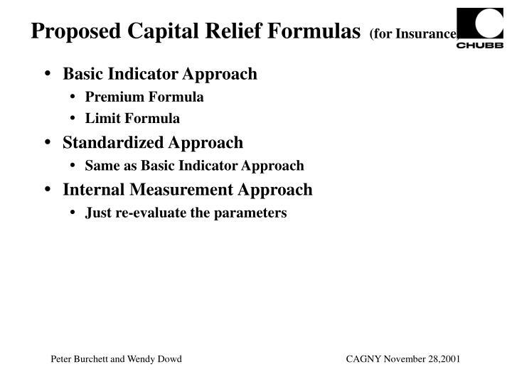 Proposed Capital Relief Formulas