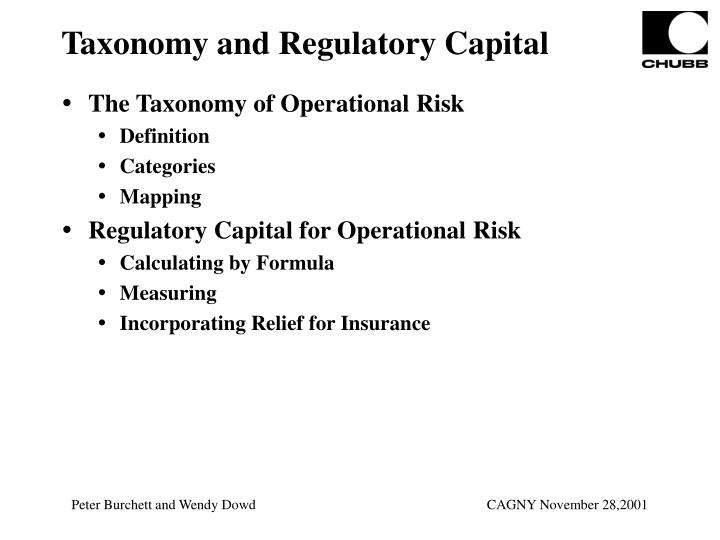 Taxonomy and Regulatory Capital