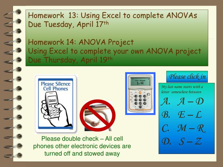 Homework  13: Using Excel to complete ANOVAs
