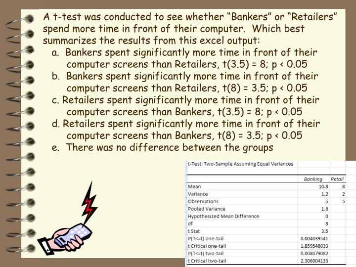 "A t-test was conducted to see whether ""Bankers"" or ""Retailers"" spend more time in front of their computer.  Which best summarizes the results from this excel output:"