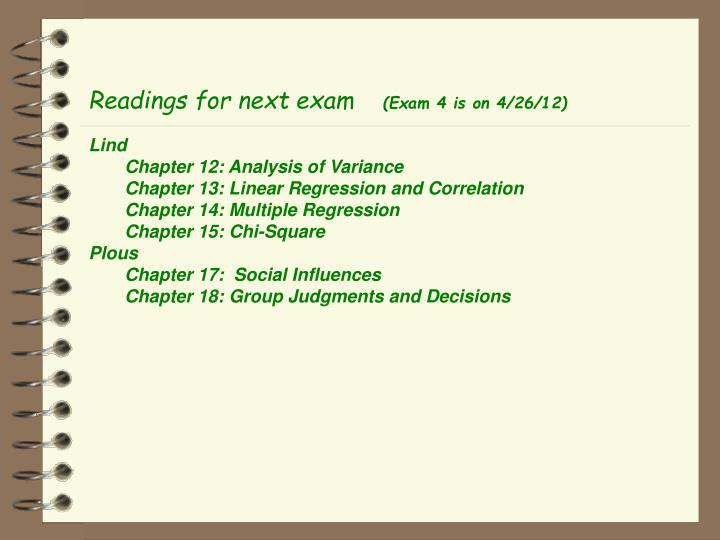 Readings for next exam
