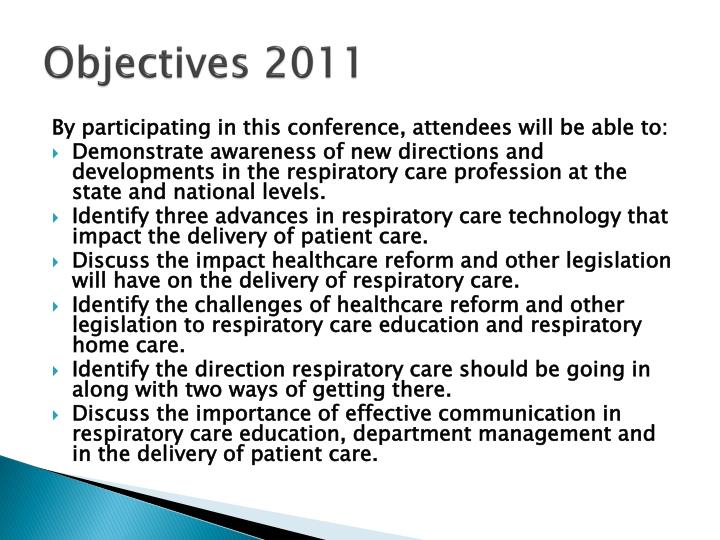 Objectives 2011