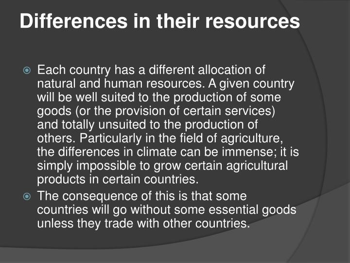 Differences in their resources