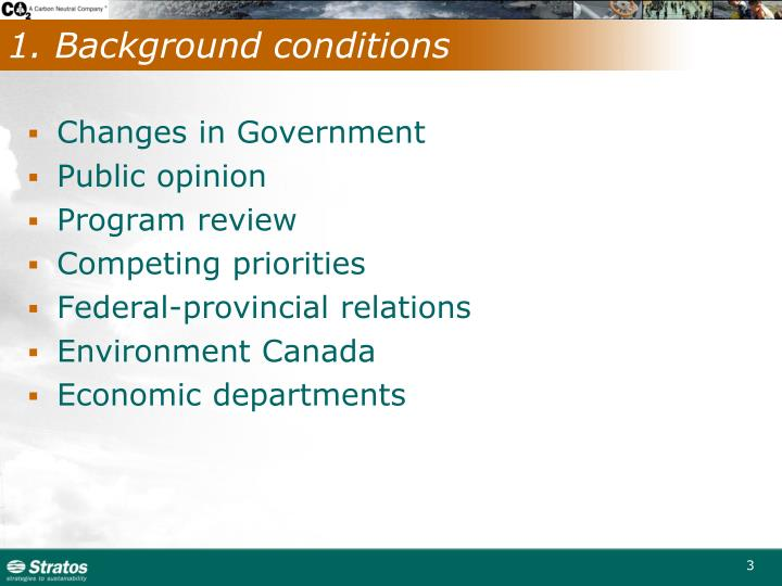 1. Background conditions