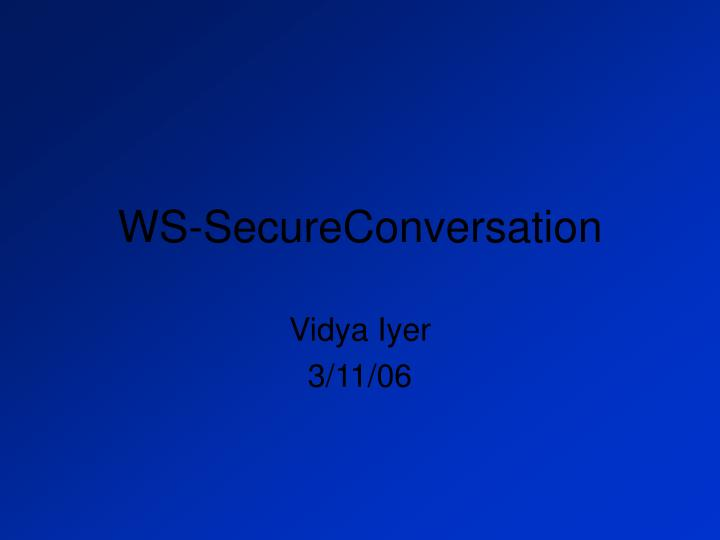 Ws secureconversation