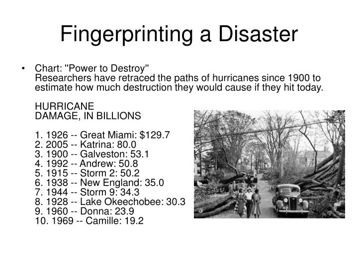 Fingerprinting a Disaster
