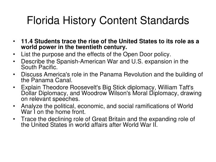 Florida History Content Standards