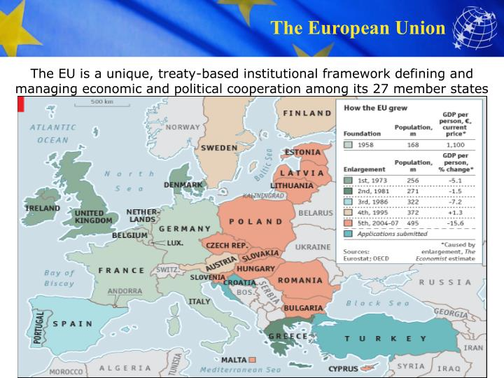 The EU is a unique, treaty-based institutional framework defining and managing economic and political cooperation among its 27 member states