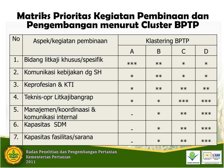 Matriks Prioritas Kegiatan Pembinaan dan Pengembangan menurut Cluster BPTP