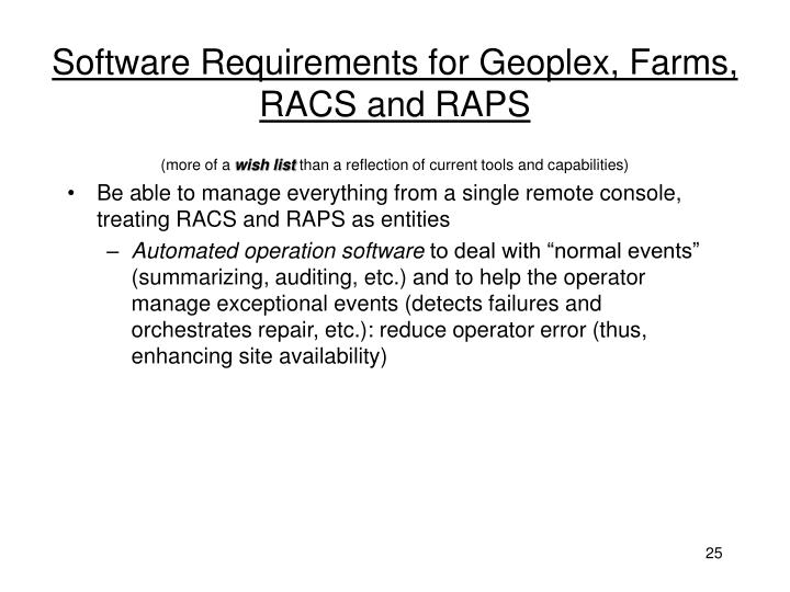 Software Requirements for Geoplex, Farms, RACS and RAPS