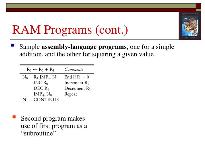 RAM Programs (cont.)