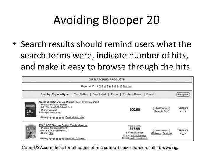Avoiding Blooper 20