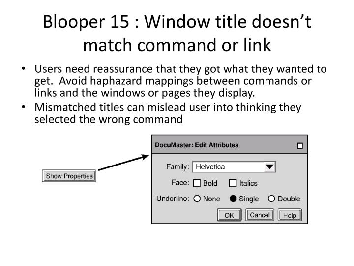 Blooper 15 : Window title doesn't match command or link