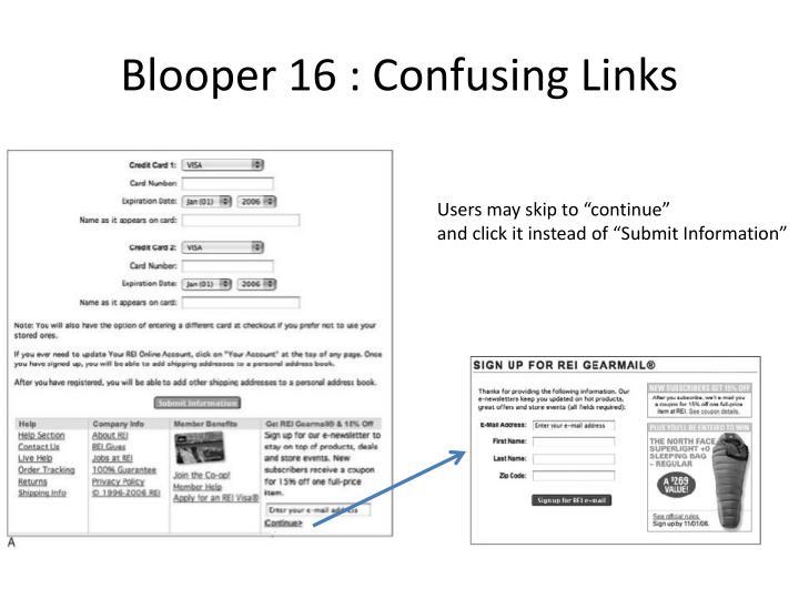 Blooper 16 : Confusing Links