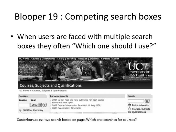 Blooper 19 : Competing search boxes