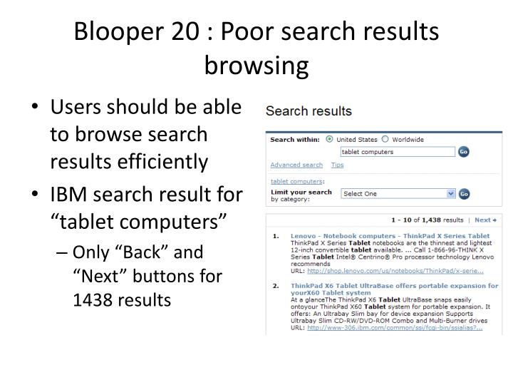 Blooper 20 : Poor search results browsing