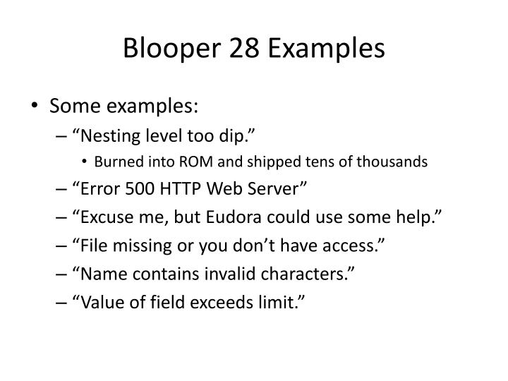 Blooper 28 Examples