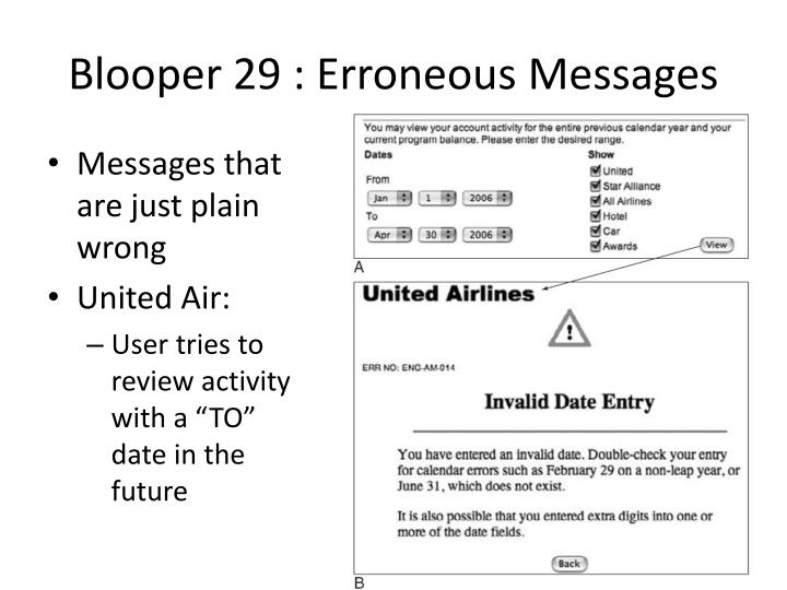Blooper 29 : Erroneous Messages