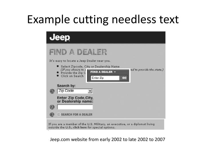 Example cutting needless text