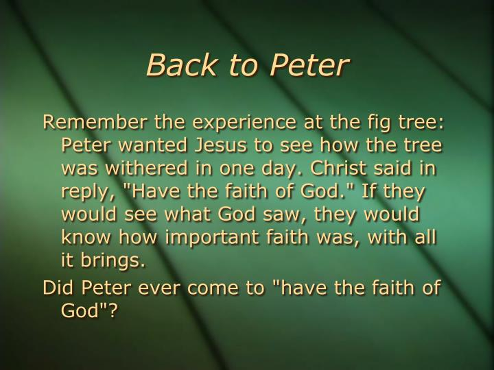 Back to Peter