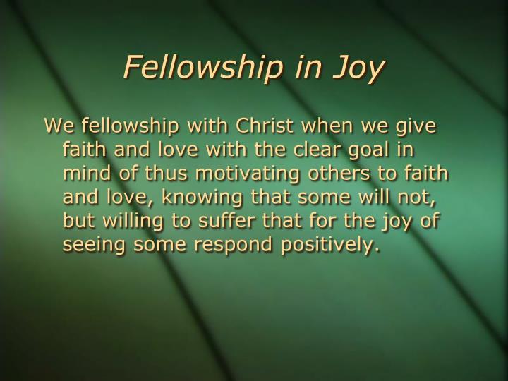 Fellowship in Joy