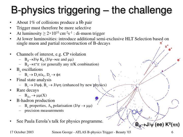 B-physics triggering – the challenge