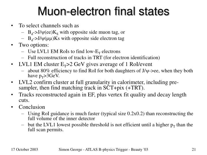 Muon-electron final states