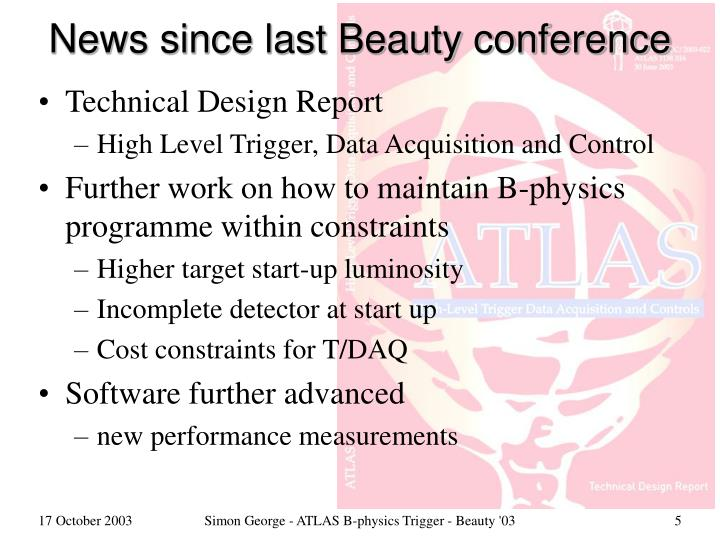 News since last Beauty conference
