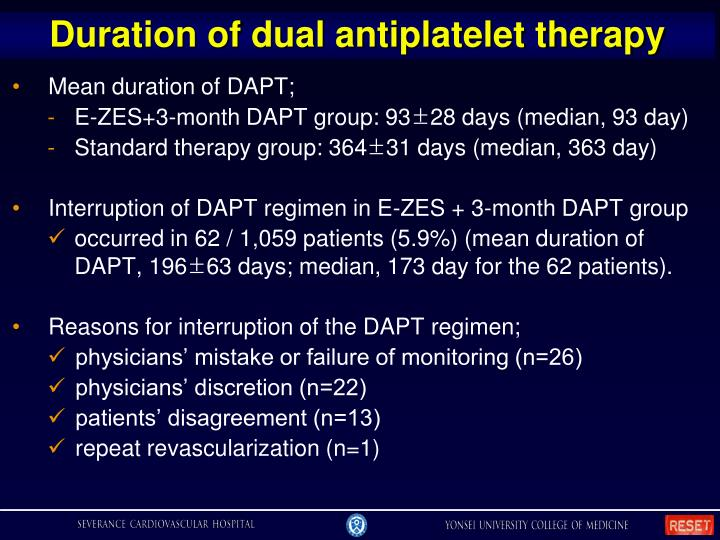 Duration of dual antiplatelet therapy