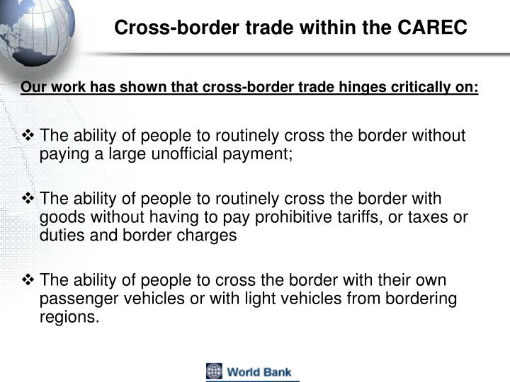 Cross-border trade within the CAREC