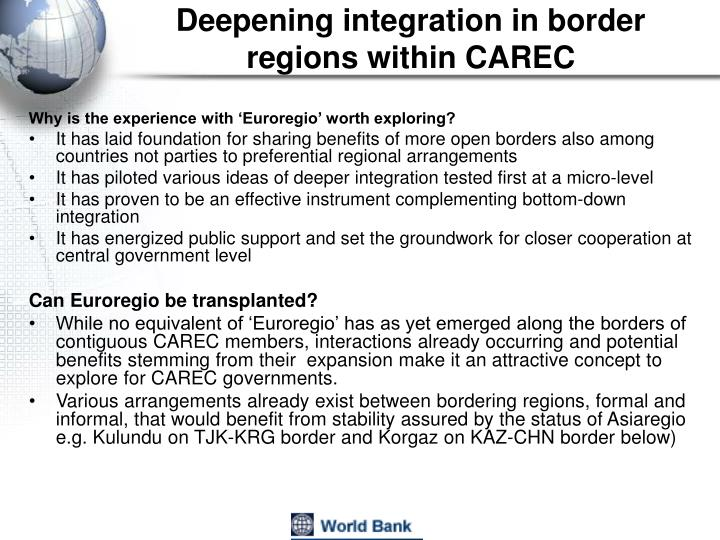 Deepening integration in border regions within CAREC