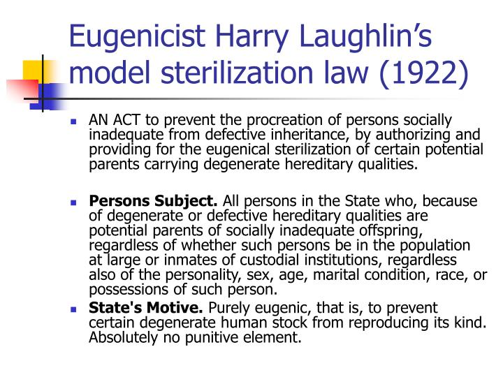 Eugenicist Harry Laughlin's model sterilization law (1922)