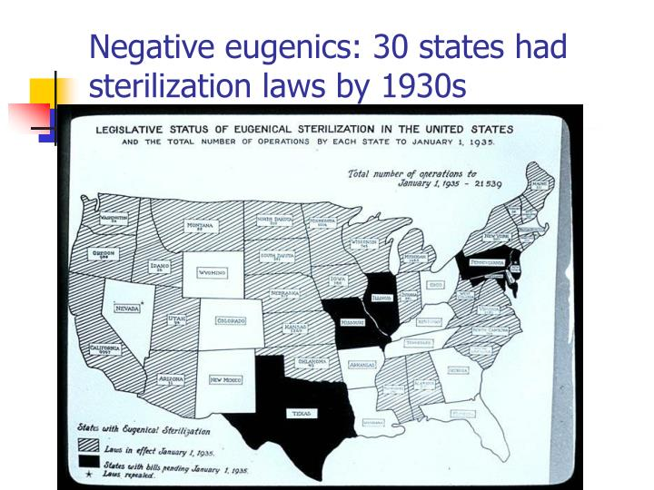 Negative eugenics: 30 states had sterilization laws by 1930s